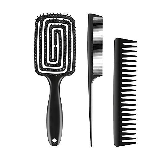 Cepillo de pelo con paleta desenredante, 3pcs Cepillo de Pelo, Peine, ideal para cabello húmedo o seco, para mujeres, hombres y niños, No más pelo enredado(negro mate)