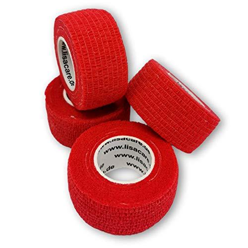 LisaCare Fingerpflaster selbsthaftend - elastisches, wasserfestes, staub- fett- und schmutzabweisendes Pflaster - ROT - 4 Rollen á 2,5cm x 4,5m