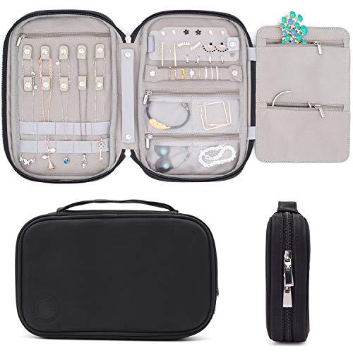 storageLAB Reise-Schmuck-Organizer, Kunstleder-Clutch für Halsketten, Ohrringe, Ringe und Armbänder (schwarz)