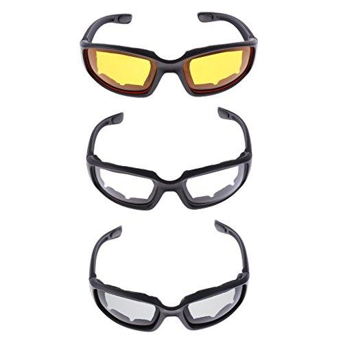 IPOTCH 3X Gafas para Montar Resistentes Al Viento Acolchadas Cómodas Ahumado Amarillo Claro