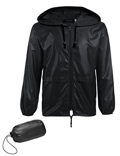 COOFANDY Men's Packable Rain Jacket Outdoor Waterproof Hooded Lightweight Classic Cycling Raincoat (Black, Large)