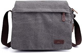 YXHM AU Washed Canvas Retro Fan Men and Women Shoulder Messenger Bag Fashion Computer Bag Trend Boutique Casual Bag (Color : Grey)