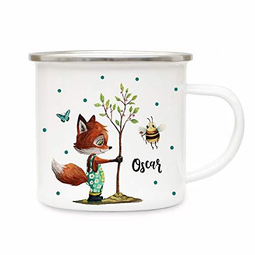 ilka parey wandtattoo-welt Emaillebecher Becher Tasse Camping Fuchs mit Biene & Wunschname Name Kaffeetasse Geschenk eb362