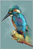 DMFNGJSD 数字油絵 フレームレス 、数字キット塗り絵 手塗り DIY絵-着色されたハチドリ 40X50cm