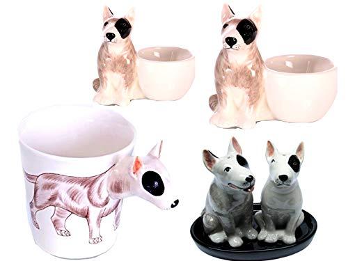 B2see LTD Bullterrier/Hund Geschenk Tasse/Eierbecher/Salz und Pfeffer-streuer Keramik Set Geschirr aus Keramik Set 6 teilig