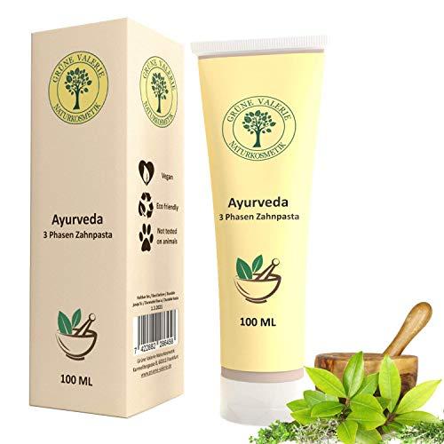Ayurveda 3 fase tandpasta | Green Valerie ® Fluoride-free 100 ML met 17 kruiden, wortels, bloemen, zeer effectieve oliën, zeezout en helende aarde. Zonder aluminium & fluoride! Bekend van de natuurvoedingswinkel!