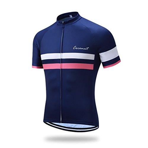 Coconut Ropamo Men's Shorts Sleeve Cycling Jersey Tops Bike Clothing Biking Shirt with 3 Pockets (L, 2057)
