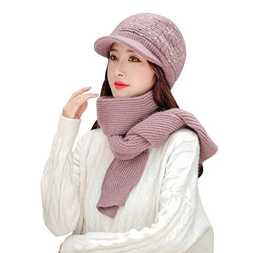 WFF Sombrero Mujeres Damas Invierno Sombrero cálido Bufanda Conjunto Crochet Slouchy Beanie Tejer...