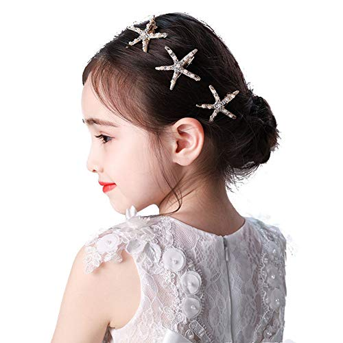 3 Pcs Starfish Hair Clip Bridal Flower Girl Accessories for Wedding, Faux Pearl Crystal Rhinestone Jewelry Pin Ceremony Party Wedding