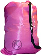 Small Laundry Bag with Drawstring, Carry Strap, Locking Closure, Color: Pink Fluorescent, Size: 22x28