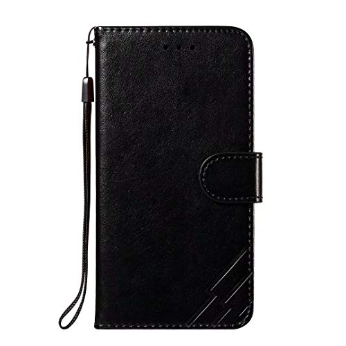 Schutzhülle für Huawei P Smart Z, stoßdämpfend, Brieftaschen-Design, aus PU-Leder, mit Kartenfächern, Geldbeutel, Ständer, magnetisch, für Huawei P Smart Z, Schwarz