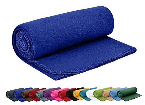 Polar Fleecedecke 130x160 cm ca. 400g schwer OekoTex mit Anti-Pilling und Kettelrand blau dunkelblau, weitere Farben erhältlich