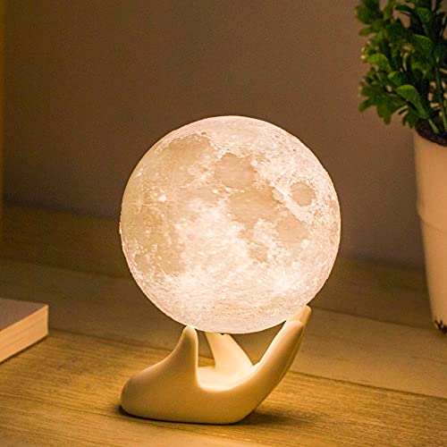 Moon Lamp Balkwan 3.5 inches 3D Printing Moon Light uses Dimmable and Touch Control Design,Romantic Funny Birthday Gifts for Women ,Men,Kids,Child and Baby. Rustic Home Decor Rechargeable Night Light