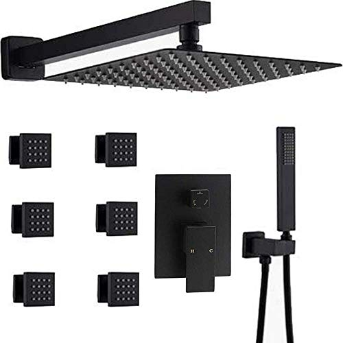 AYIVG Bathroom Square 12 Inch Ceiling Rainfall Shower Faucet System With 6 PCS Body Jets Mixer Set (Wall Mount, Black)
