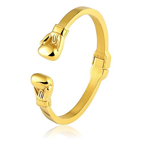 Bishilin Partnerarmband Armband Junge Charms Boxhandschuhe Armband Gold Edelstahl 17.5CM