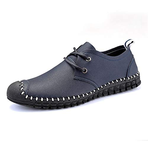 Liangcha-0401 Mocasines de manejo para Hombres Zapatos de Barco Lace Up Microfiber...