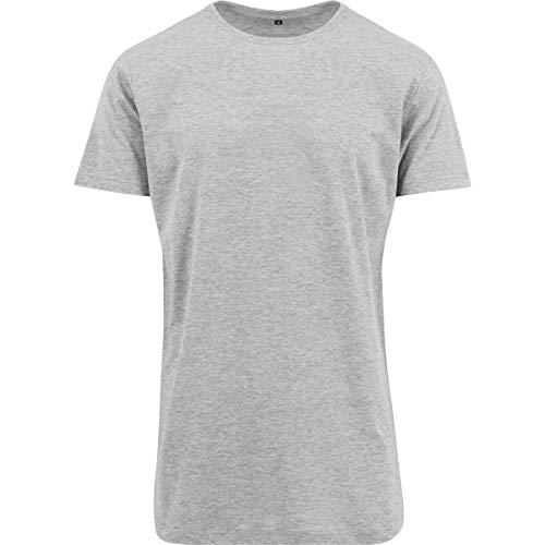 Build Your Brand Herren Shaped Long Tee T-Shirt, Heather Grey, XXL