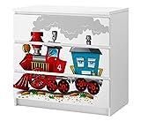 Set Möbelaufkleber für Ikea Kommode MALM 3 Fächer/Schubladen Kinderzimmer Cartoon Zug Eisenbahn Kat2 Dampflokomotive ML3 Aufkleber Möbelfolie sticker (Ohne Möbel) Folie 25C2654