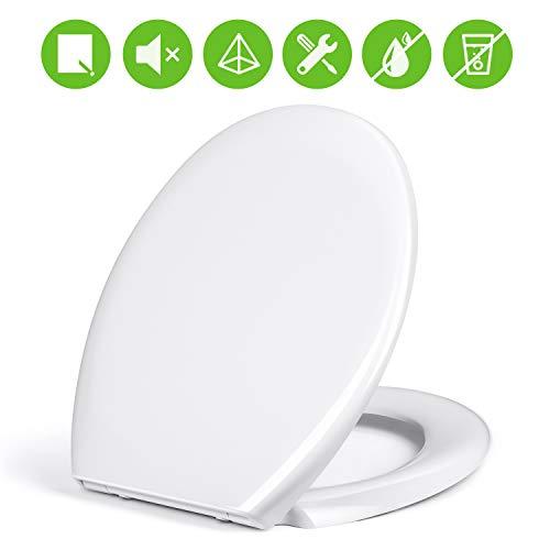 amzdeal Copriwater - Sedile WC Universale con Chiusura Ammortizzata Soft Close, Plastica termoindurente Antibatterico, Materiale Dolomite a Forma di O, Ideale per Bagno, Bianco