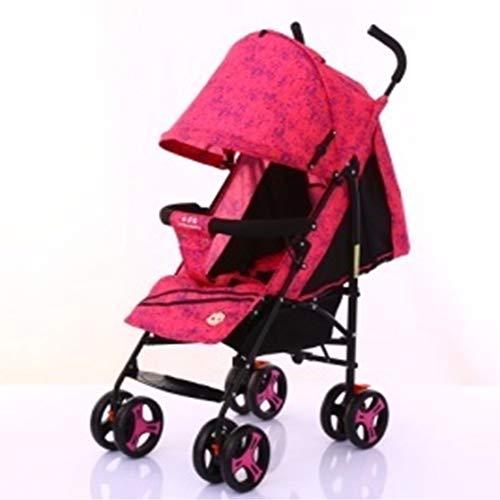 Carrito de bebé ultraligero y cómodo plegable puede sentarse Lie Baby Simple Paraguas Niño Pequeño 4 ruedas Buggy rojo rosso Talla:largo