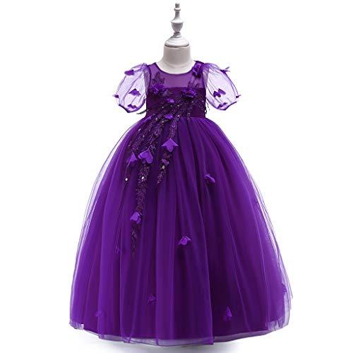 Janly Liquidación Venta Vestido de Niñas para 0-10 Años, Niña Niña Burbuja Manga Flores Princesa Pagant Fiesta Boda Vestido de Noche, morado, 13-14 años