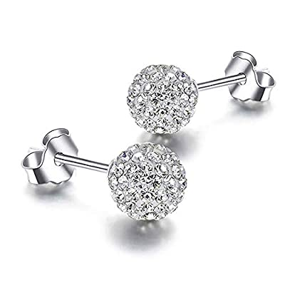RIVERTREE 8mm Pave Crystal Disco ball Earrings Stud Silver for Women Shamballa Inspired