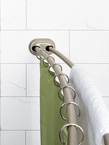 Zenna Home 35644BN, NeverRust Aluminum Double Curved Tension Shower Curtain Rod, 50 to 72-Inch, Satin Nickel