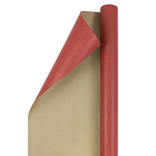 JAM PAPER Gift Wrap - Kraft Wrapping Paper - 25 Sq Ft - Red Kraft Paper - Roll Sold Individually