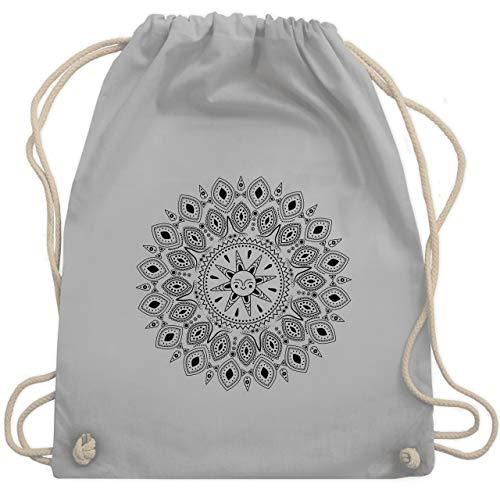 Kunst & Kreativität - Boho Mandala Yoga Sketch - Unisize - Hellgrau - gym bag yoga - WM110 - Turnbeutel und Stoffbeutel aus Baumwolle