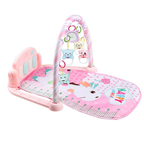 XLLLL Baby Play Mat Gym Fitness, Music Lights Fun Piano Boy Girl Fitness Rack Educación Temprana,Pink