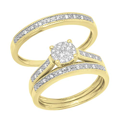 Anillo de oro amarillo de 10 quilates con diamantes blancos redondos de 0,25 quilates para hombres y mujeres
