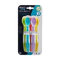 vital baby nourish - cucchiai per lo svezzamento, flessibili e morbidi, confezione da 5 cucchiai senza bpa, 4 mesi in su.