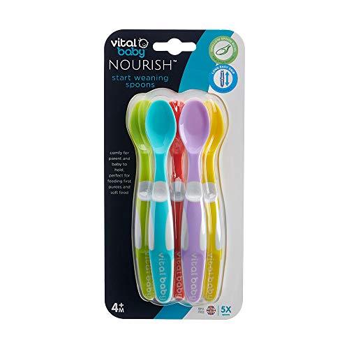 Vital Baby Nourish Start - Cucchiai flessibili per lo svezzamento, 5 pezzi, senza BPA, 4 mesi +