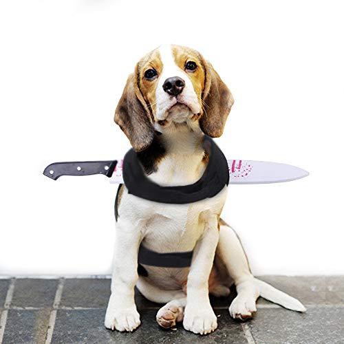 Halloween-Kostüm-Schädel-Mörder-Weste T-Shirt Spiel Pet Küchenmesser Kopfbedeckung, Lustig und Cool, für Katze und Hund Small Medium,Bayonet s