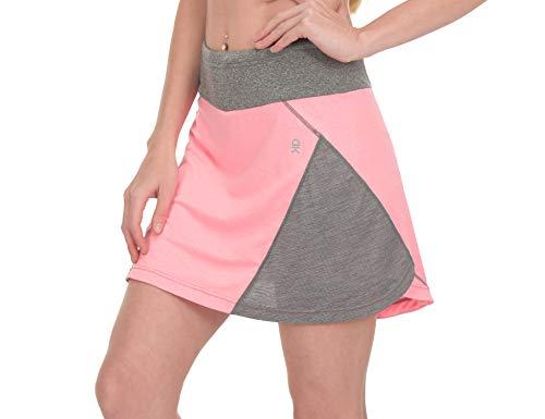 Little Donkey Andy Falda de golf atlética para mujer con bolsillos cortos que absorbe la humedad UPF 50+, Medium, Rosado y gris