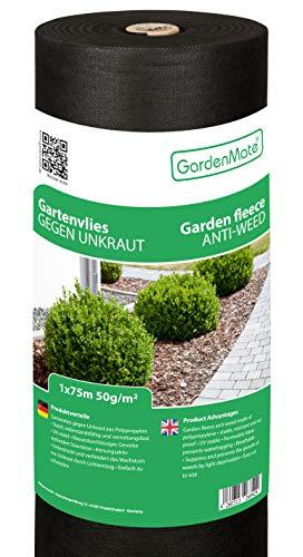 GardenMate Rouleau Toile Anti-Mauvaises Herbes 1x75m en Non tissé 50g/m² - antidéchirure, Anti-UV et perméable à l'eau - 1x75 = 75m²