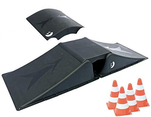 Best Sporting Rampen-Set für Skateboard, BMX-Rad, Skater und RC Cars (#1 (Rampe 2+2 + 4 Pylonen))