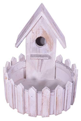 Decoratieve CHICCIE Vintage houten vogelhuis 21cm - voederhuis nestkast vogelhuisje
