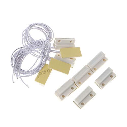 DUESI 5 Juegos MC-38 Sensor de Ventana de Puerta con Cable Interruptor magnético Detector de Sistema de Alarma para el hogar