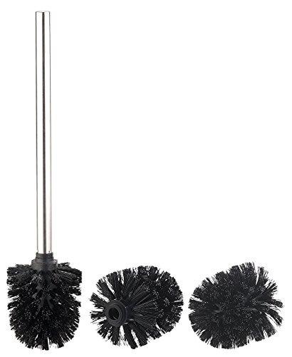 BadeStern Zubehör zu WC Bürsten: Bürsten-Stiel und 3 Wechsel-Aufsätze mit Ø 8 cm, Edelstahl/schwarz (Toilettenbürste mit Boden-Halter)