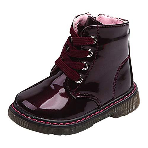 Botas Militares para Niños Niñas Unisex Invierno Moda PAOLIAN Zapatos para Bebé Niñas Primeros Pasos Fiesta Zapatillas Exterior Botines de Agua Niños Charol Planos con Cordones Otoño