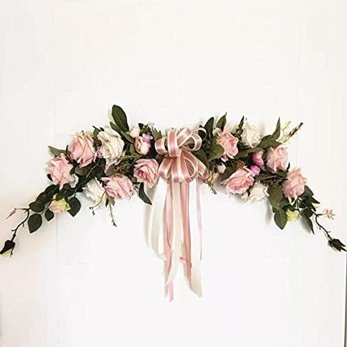 Lsdnlx Corona de,Flores Artificiales clásicas para la decoración del dintel del jardín de la habitación del hogar Rosas Falsas Peonías Flores para el umbral