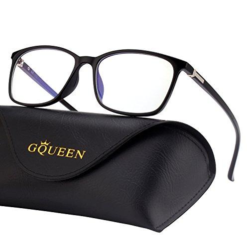 GQUEEN Blaulichtblockierende Computer Brille Gaming Besser Schlafen Antiblend Augenersch?pfung mit TR90 Rechteckigem Rahmen Transparente Gl?ser Unisex GQ318