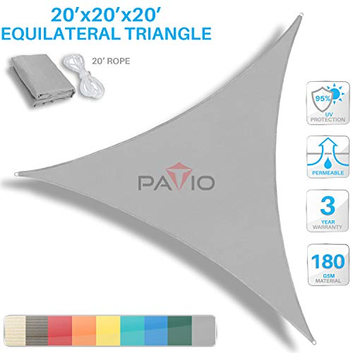 Patio Paradise 20' x 20' x 20' Light Grey Sun Shade Sail Equilateral Triangle Canopy, 180 GSM Permeable Canopy Pergolas Top Cover, Permeable UV Block Fabric Durable Outdoor, Customized Available