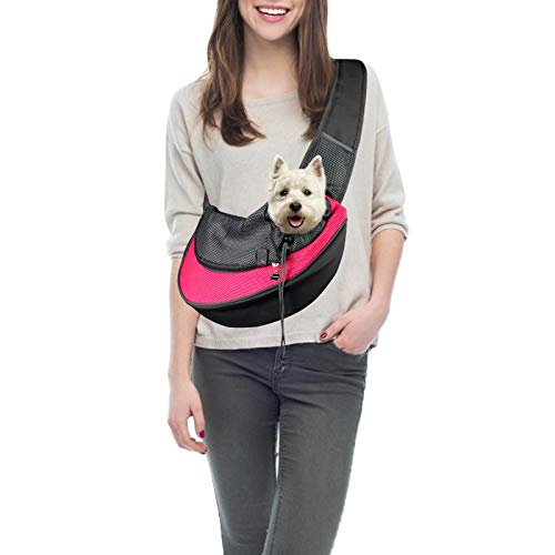 PatiencET Pet Dog Sling Carrier Breathable Mesh Traveling Safe Sling Bag Carrier for Small Dogs Cats