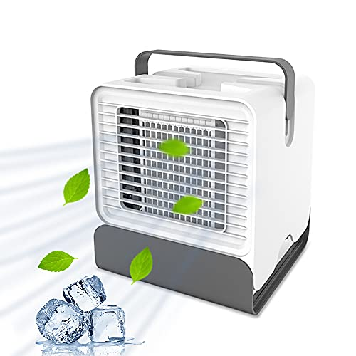Skystuff Personal Air Cooler, 3 in 1 Mini Air Condition Humidifier Fan Purifier, USB Mini Air Cooler with Night Light, Personal Space Air Cooler Desk Fan Cooling for Home Office