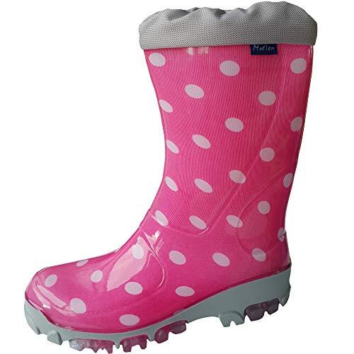Kinder Jungen Gummistiefel Mädchen Regenstiefel Regenschuhe (33/34 EU, Gepunktete Pink)
