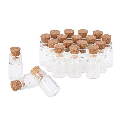 PandaHall Mini Bottiglie in Vetro Bottiglie con Tappo in Sughero, 18 x 10 mm, Confezione da 20 Pezzi