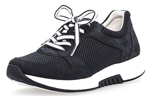 Gabor Damenschuhe 86.946.46 Damen Schnürhalbschuhe, Sneaker, Sommerschuhe, Optifit- Wechselfußbett Blau (Nightblue), UK 4.5