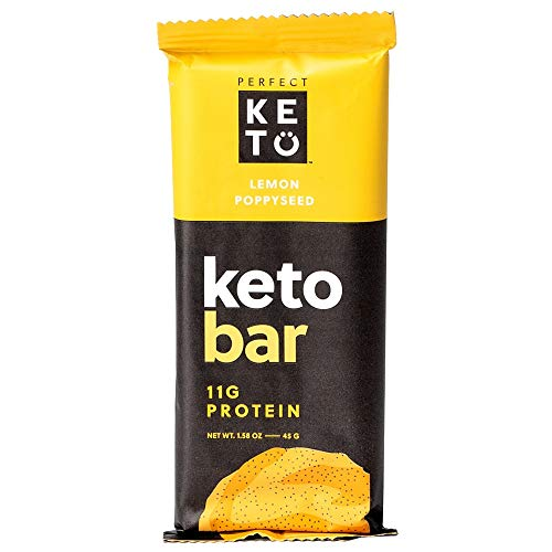 Perfect Keto Protein Snacks - 3 Boxes, 36 Bars - Low Carb Diet Friendly with Coconut Oil, Collagen, No Added Sugar - Sweet Treat in Lemon Poppyseed Flavor - Individual Packs for Travel, Hiking